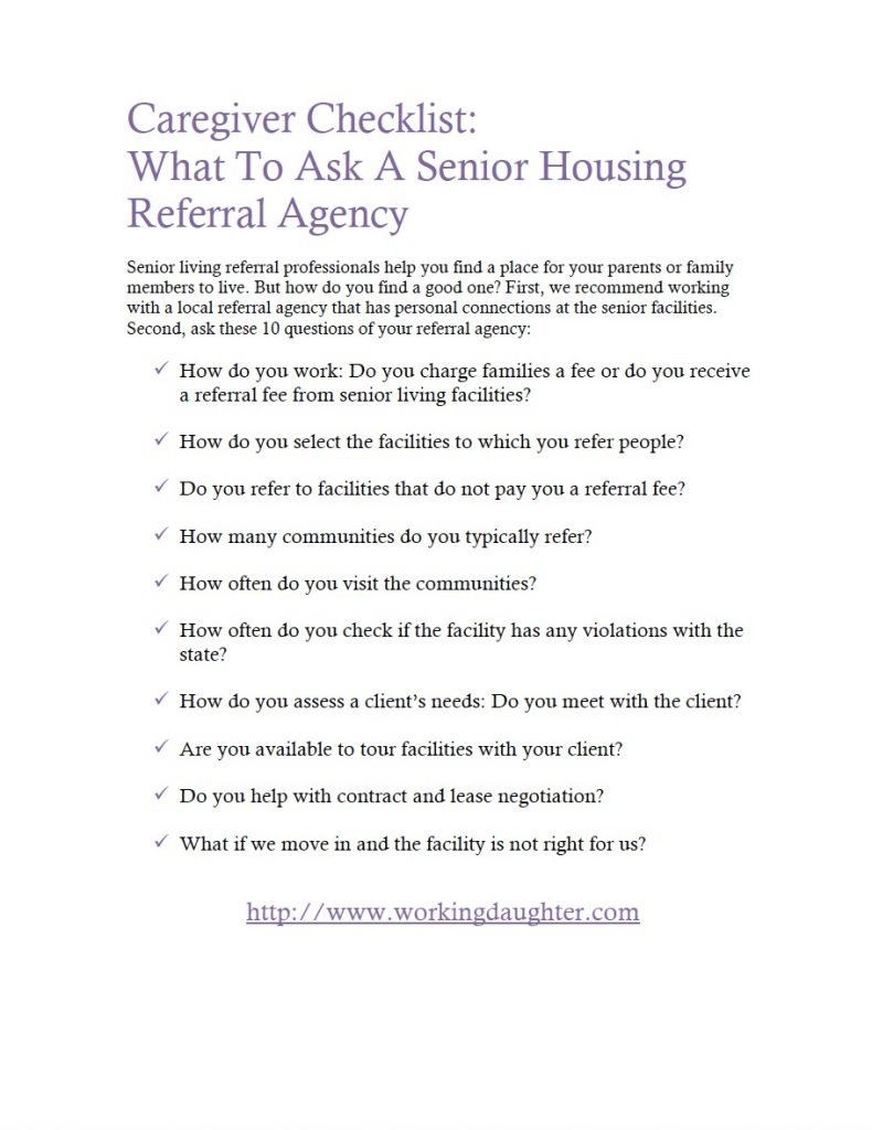 Senior Housing Checklist