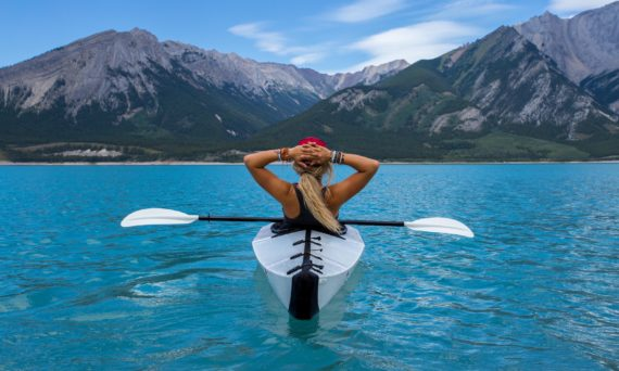 woman in a kayak